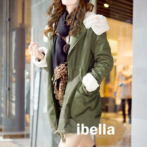 現貨4折出清不退不換,慎選-外套 高質感絨毛裡絨毛純棉連帽外套大衣 【21-25-86606】ibella 艾貝拉