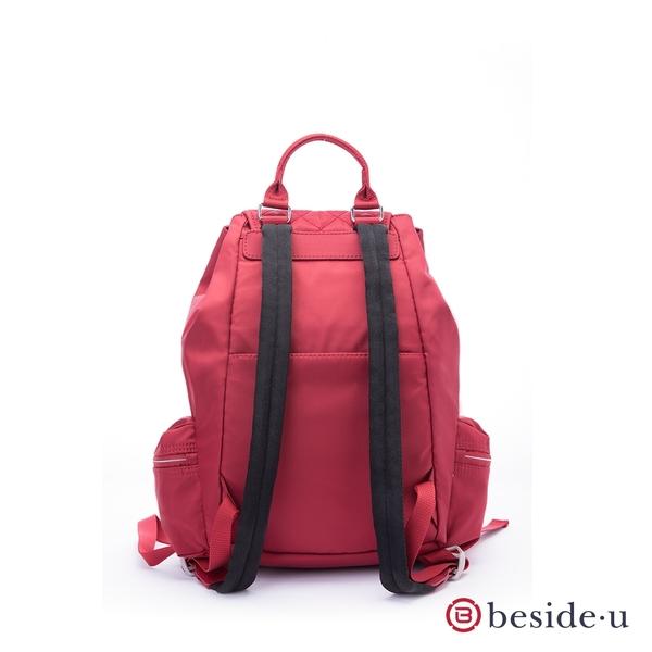 beside u BTTD菱格紋車線拼接編織皮革造型束口後背包– 紅色季節限定款 原廠公司貨
