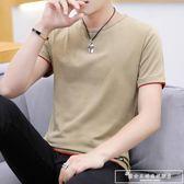 夏季男士圓領短袖t恤潮流男裝半袖純棉上衣服夏裝純色體恤丅『韓女王』