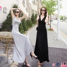 熱賣背心洋裝 韓版夏季莫代爾修身大擺裙長裙女性感V領小黑裙背心連身裙拖地裙【618 狂歡】