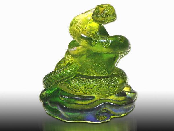 鹿港窯-居家開運商品-琉璃S十二生肖文鎮【蛇】附精美包裝◆免運費送到家