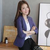 棉麻小西裝女外套短款夏季新款韓版修身女士七分袖休閒西服薄提拉米蘇
