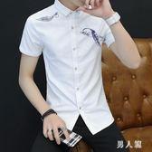 中大尺碼短袖襯衫 夏季男裝薄款休閒寸衫青少年韓版修身韓版潮流襯衣 FR9707『男人範』
