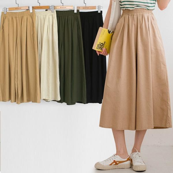 MIUSTAR 日系無印感!鬆緊親膚七分棉麻寬褲(共4色)【NJ1991】預購