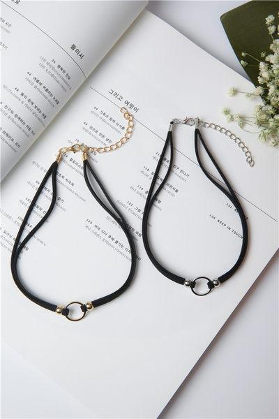 Qmigirl 韓版雙層圓環幾何項圈女 短款鎖骨項鍊原宿復古頸鏈簡約【QG2216】