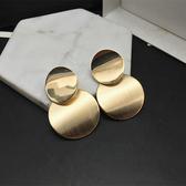 耳環大方磨砂圓形耳釘金屬個性耳飾女韓國