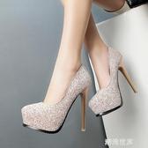 2020春季新款12cm超高跟鞋 細跟性感單鞋防水台白色水晶鞋 女亮片『潮流世家』
