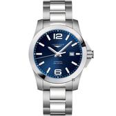 LONGINES浪琴 Conquest 征服者300米機械錶-藍/43mm L37784966