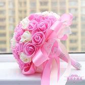 雙12購物節結婚婚禮新娘手捧花仿真花 韓式 大束金邊玫瑰28cm 婚慶用品夏沫居家