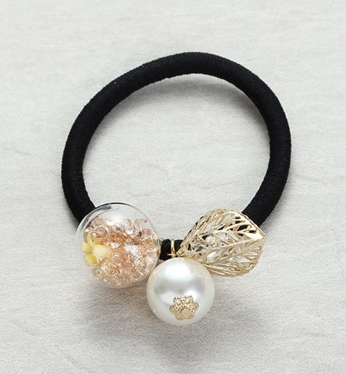 正韓玻璃球珍珠鏤空鑽樹葉髮圈夏綠蒂didi-shop
