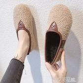 加絨豆豆鞋女毛毛鞋秋冬新款軟底懶人一腳蹬羊羔毛孕婦奶奶鞋 沸點奇跡