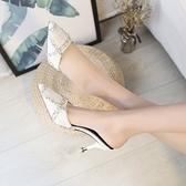 細跟高跟拖鞋 高跟涼拖鞋女新款韓版時尚百搭尖頭細跟包頭性感半拖鞋【快速出貨八折搶購】