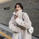 韓國潮流秋冬新款皮毛一體外套 女韓版寬鬆中長款 仿水貂絨機車羊羔毛大衣