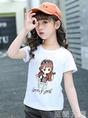 童裝女童短袖T恤年新款夏裝9女孩體恤半袖純棉兒童白色上衣夏 至簡元素