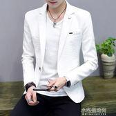 春秋季男士長袖亞麻小西裝韓版青少年修身純色帥氣薄款西服男外套『小宅妮時尚』