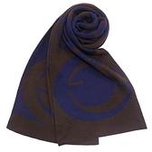 GUCCI經典雙G緹花紋羊毛圍巾(咖啡藍)084070-1