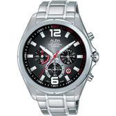 【僾瑪精品】ALBA 雅柏 黑旋風三眼計時男性時尚腕錶/42mm/VD53-X278D(AT3B71X1)