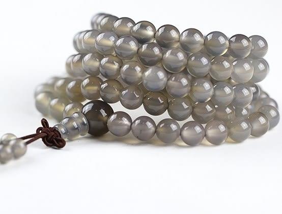 [協貿國際]天然灰瑪瑙108顆佛珠手鍊單條價