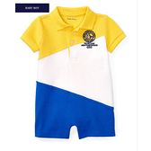 【北投之家】男寶寶短袖兔裝 polo杉連身衣 黃拼接   Polo Ralph Lauren童裝 (嬰幼兒/baby/新生兒)