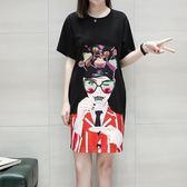 中大尺碼XL-4XL中長版T裙休閒裙23674歐洲站新款印花圖案連身裙胖胖唯依