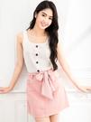 單一優惠價[H2O]前裝飾門襟設計變化組織針織背心上衣 - 磚紅/紫/白色 #0691002