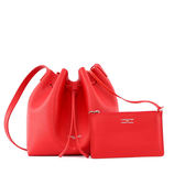 【LANCASTER】防刮牛皮側背水桶包(小)(紅色) 422-18 ROUGE