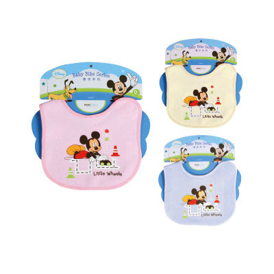 【奇買親子購物網】迪士尼Mickey米奇自粘圍兜(藍色/粉色/黃色)