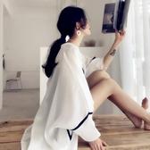 防曬衣女防紫外線透氣長袖寬鬆中長款防曬衫披肩式上衣女夏ins潮 時尚芭莎鞋櫃