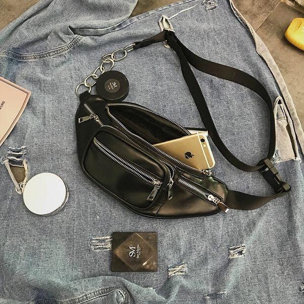 ZUCAS~(PP-7559)斜背包百搭時尚復古金屬鏈條機車包個性腰包