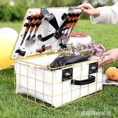 手提籃戶外野餐籃子鐵藝籃子帶蓋保溫防水水果零食收納籃大號手提籃  【雙十二免運】
