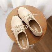 牛津鞋/紳士鞋 復古英倫繫帶圓頭小皮鞋中跟單鞋粗跟牛津鞋大碼女鞋