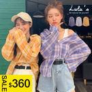 LULUS特價-Y配色格紋澎袖襯衫-3色  【01190409】