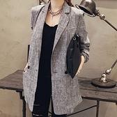西裝外套-中長款寬鬆舒適OL時尚亞麻小西裝71p20【巴黎精品】