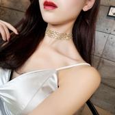 歐美金色性感隱形頸鏈chocker鎖骨鏈女脖子飾品頸帶韓國短款項鏈