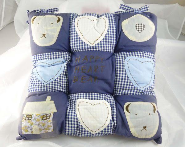 【震撼精品百貨】日本泰迪熊~方形靠枕/坐墊『紅格&藍格&黑白格』(共三款)