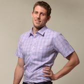 【金‧安德森】粉藍格紋窄版短袖襯衫