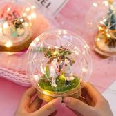 過年禮品 山海鯨 水晶球燈微景觀手工DIY過年情人節生日禮物創意擺件 卡菲婭