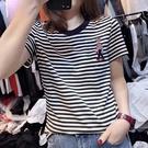 短袖T恤 2021年夏季新款韓版刺繡打底衫短袖條紋t恤女寬松大碼純棉潮上衣