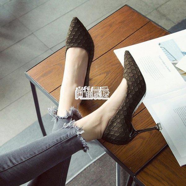 【免運】正韓新款格紋高跟鞋女百搭尖頭淺口細跟紅色婚鞋貓跟單鞋