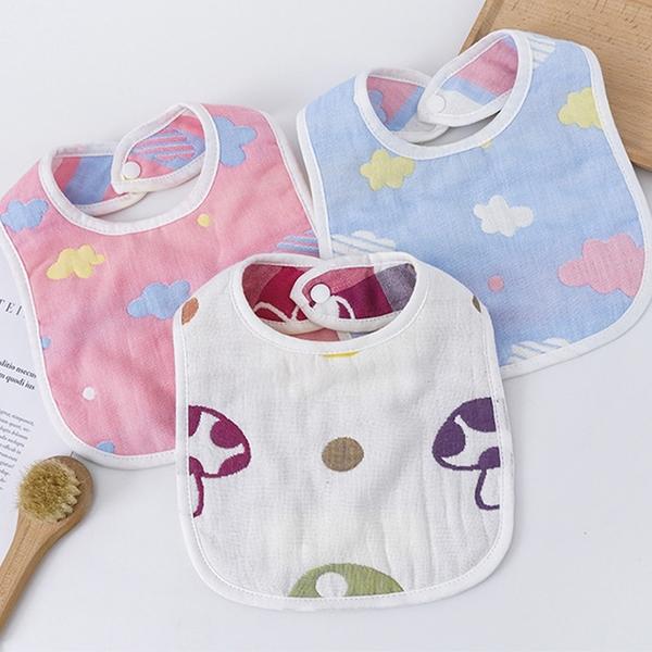 兒童6層純棉紗布圍兜兜 嬰幼兒寶寶圍兜 口水巾 紗布巾【庫奇小舖】