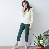 betty's貝蒂思 褲管開衩寬版西裝褲(深綠)