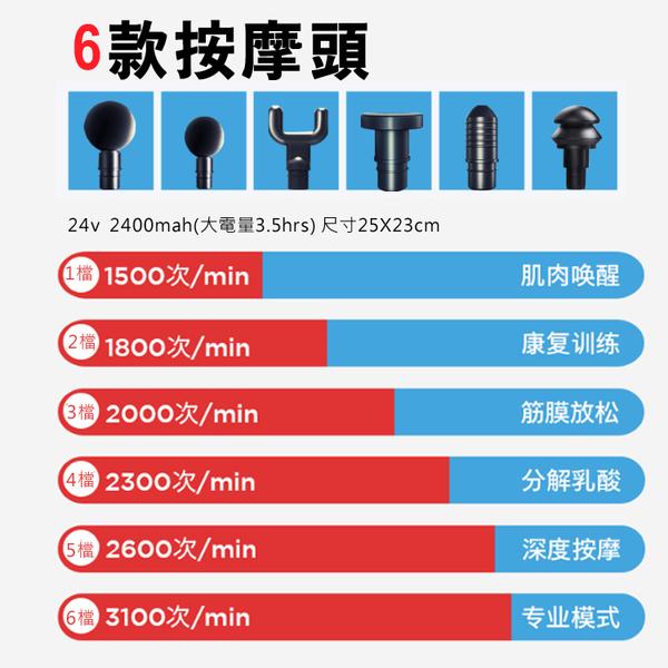 免運費 運動筋膜槍 健身 低靜音 20段 6接頭 高電量 按摩槍 運動按摩器 震動按摩槍 放鬆肌肉