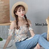 上衣 一字領碎花彈性上衣(白) 小豬兒 Mini Jule【SUC81002812】現貨+預購
