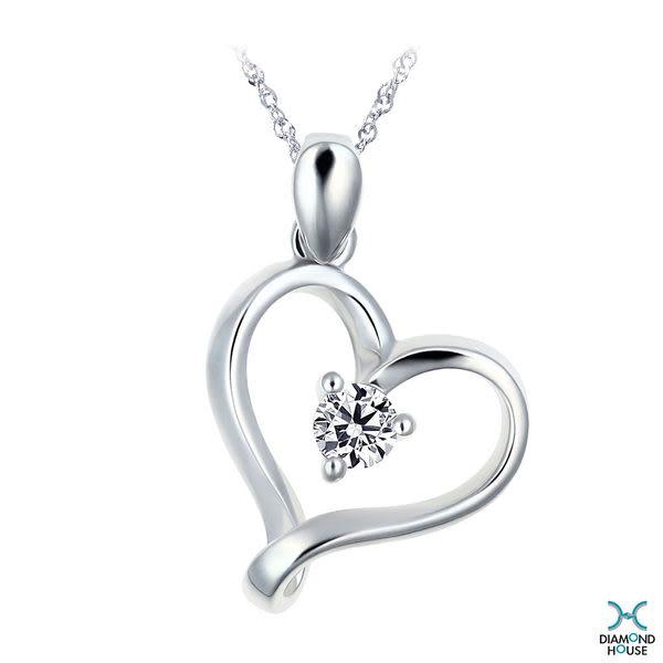 ﹝鑽石屋﹞11分鑽石套鍊 愛心白K金鑲鑽項鍊  DB032205