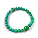 綠松石圓珠純銀花托彈性手環