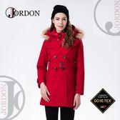 【JORDON 橋登 女 GORE-TEX+I3L大衣《暗紅》】1966/二件式/長版大衣/羽絨衣/保暖羽絨外套