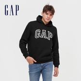 Gap男裝 Logo撞色字母連帽休閒上衣 618862-黑色