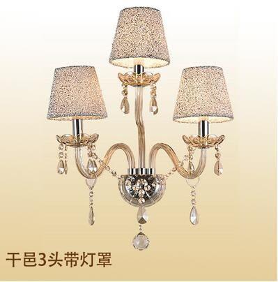 美術燈 led壁燈床頭燈簡約創意水晶壁燈客廳陽台過道水晶-不含光源(3頭干邑+燈罩)