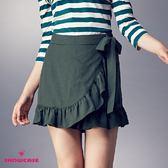 【SHOWCASE】荷葉裙襬綁帶褲裙(綠)