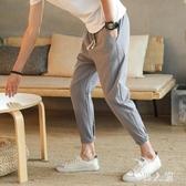 男褲子休閒夏季亞麻棉麻寬鬆直筒韓版潮流九分褲薄款 JH2261『男人範』